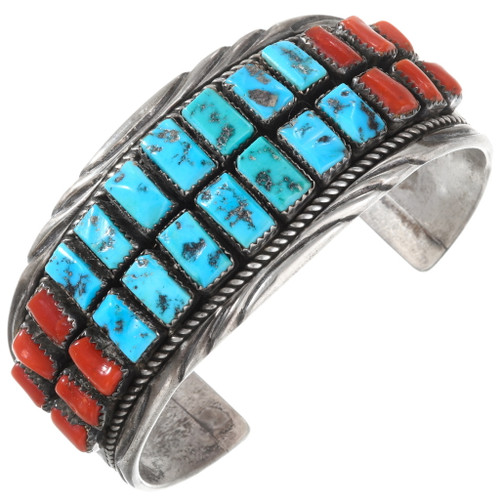 Old Pawn Turquoise Coral Navajo Bracelet 40141
