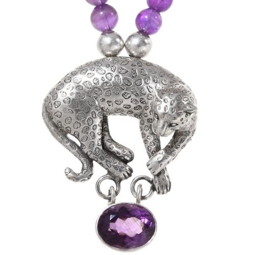 Vintage Amethyst Sterling Silver Leopard Necklace 40144