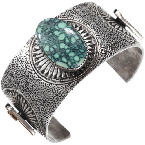 Vintage Spiderweb Turquoise Cuff Bracelet 40147