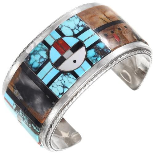 Vintage Zuni Turquoise Inlay Sunface Kachina Bracelet 40152