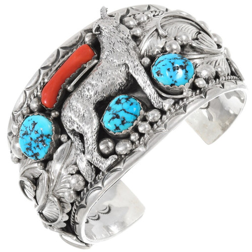 Turquoise Coral Navajo Silver Wolf Bracelet 40158