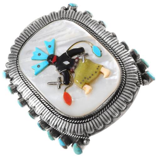 Large Vintage Apache Crown Dancer Silver Cuff Bracelet 1426