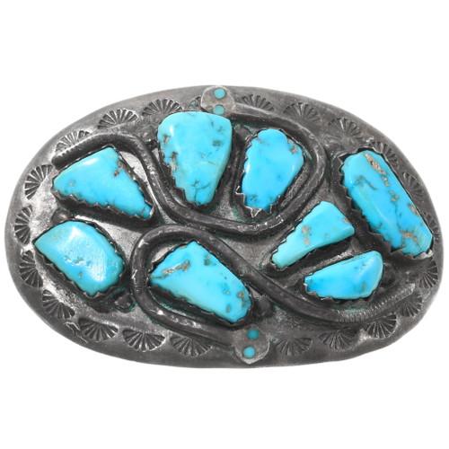 Vintage Turquoise Effie Calavaza Snake Belt Buckle