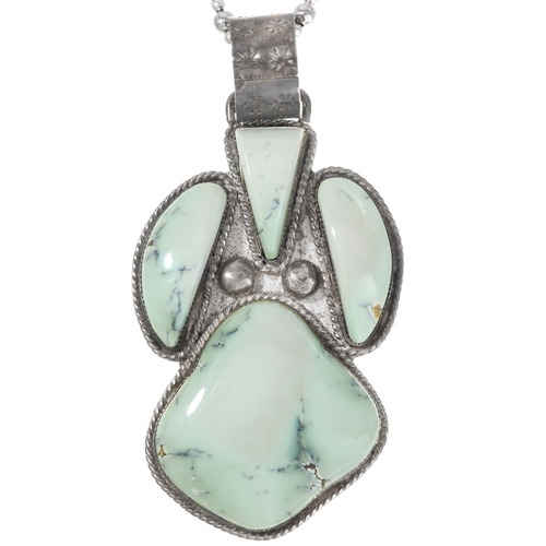 Old Pawn Green Turquoise Silver Pendant 40179