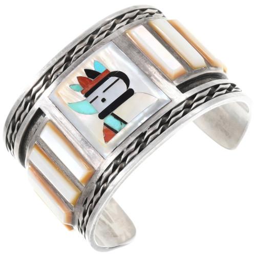 Vintage Zuni Inlay Kachina Bracelet 40191