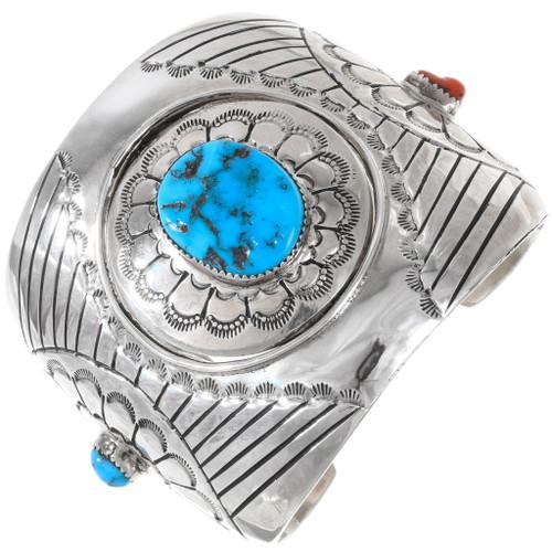 Vintage Sterling Silver Turquoise Navajo Cuff Bracelet 40192