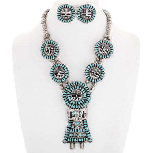 Turquoise Sunface Kachina Necklace Earrings Set 40194