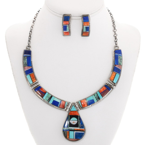 Gemstone Inlay Native American Necklace 40195