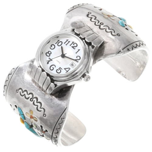 Old Pawn Turquoise Inlay Silver Watch Cuff 40203