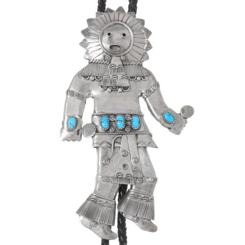 Navajo Sterling Silver Sunface Kachina Bolo Tie 40222