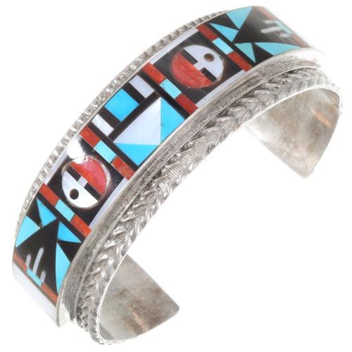 Zuni Geometric Inlay Sterling Silver Bracelet 40229