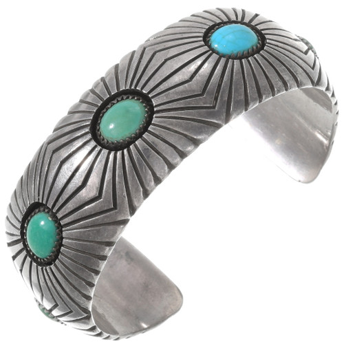 Natural Turquoise Native American Cuff Bracelet 40233