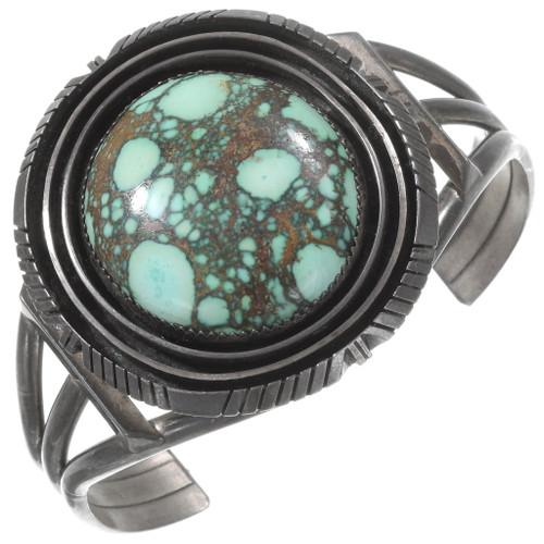 Green Spiderweb Turquoise Navajo Cuff Bracelet 40236