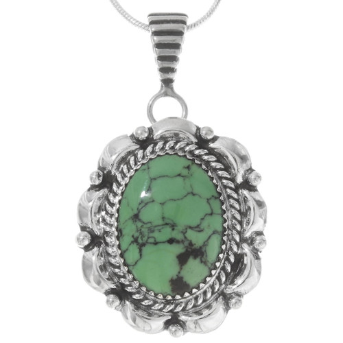 Green Turquoise Silver Navajo Pendant 40238