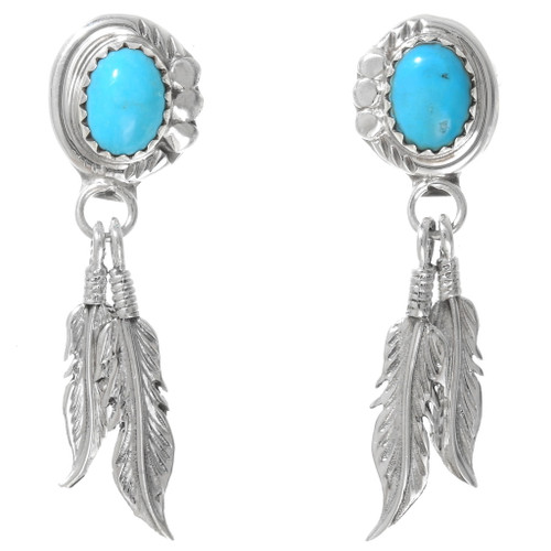 Navajo Turquoise Sterling Silver Feather Earrings 40240