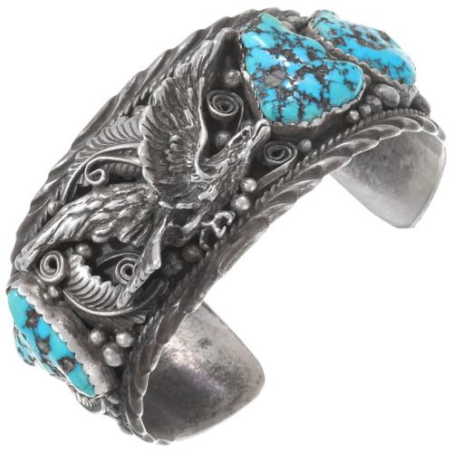 Natural Sleeping Beauty Turquoise Eagle Bracelet 40241