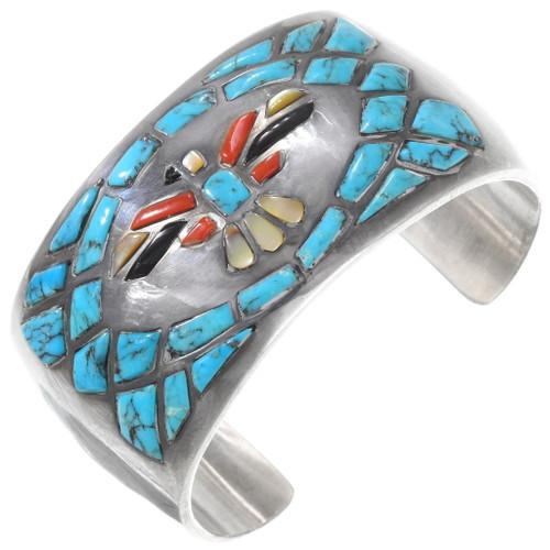 Old Pawn Turquoise Inlay Thunderbird Cuff Bracelet 40248