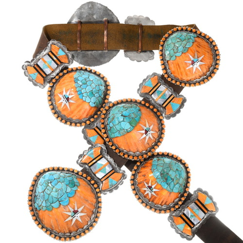 Vintage Santo Domingo Turquoise Spiny Oyster Shell Concho Belt 40249