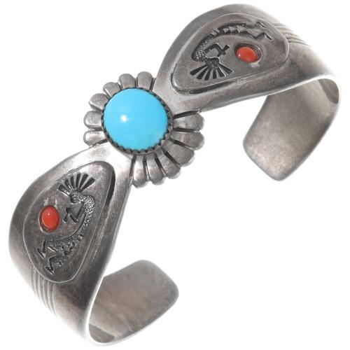 Vintage Navajo Turquoise Silver Kokopelli Bracelet 40251