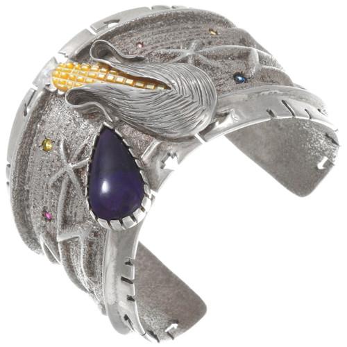 Apache Corn Bracelet Lapis Gemstone Cuff 40270