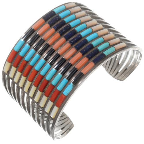 Zuni Sterling Silver Inlaid Gemstone Bracelet 40275