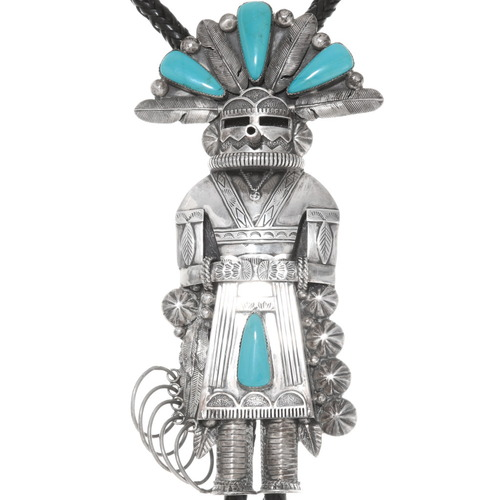 Giant Sterling Silver Native American Kachina Bolo Tie 40291
