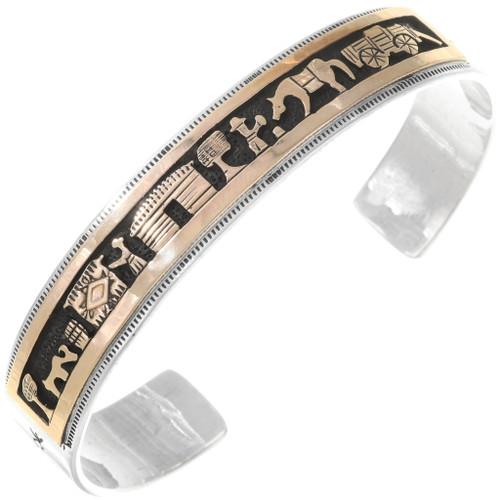 Navajo Gold Silver Storyteller Bracelet 40300