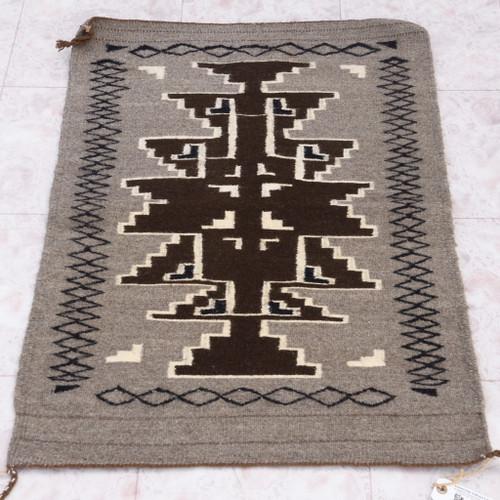 Vintage Two Grey Hills Navajo Wool Rug 40320