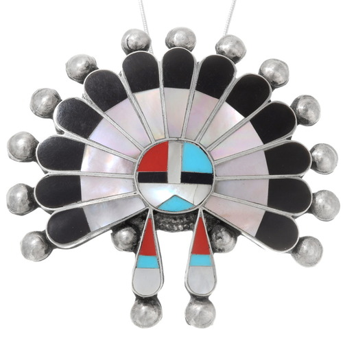 Vintage Zuni Sunface Kachina Pendant 40326