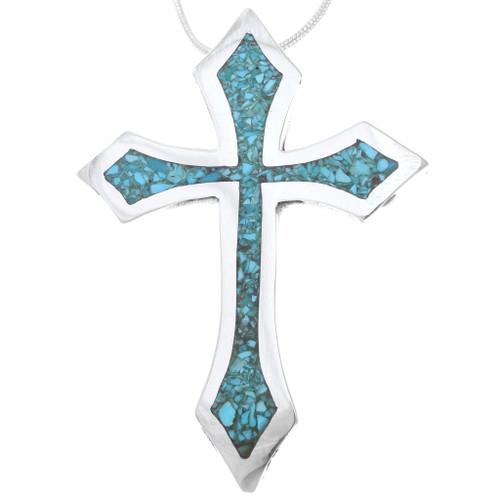 Native American Turquoise Cross Pendant 40332