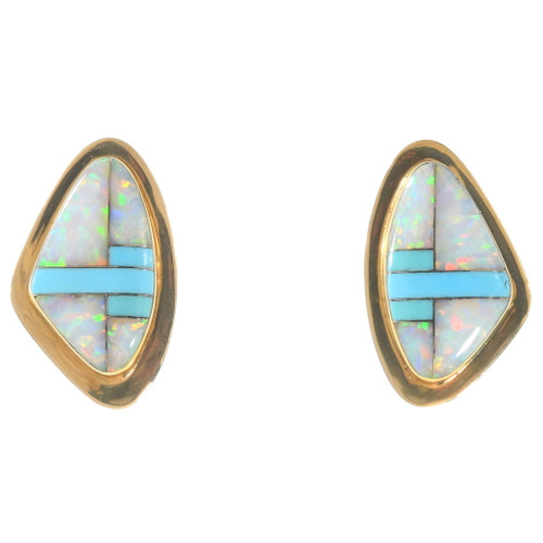 Vintage 14K Gold Opal Turquoise Inlay Earrings 40335