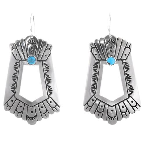 Sterling Silver Turquoise Navajo Earrings 40359