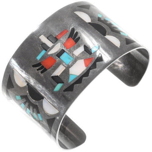 Old Pawn Zuni Inlay Knifewing Kachina Bracelet 40361