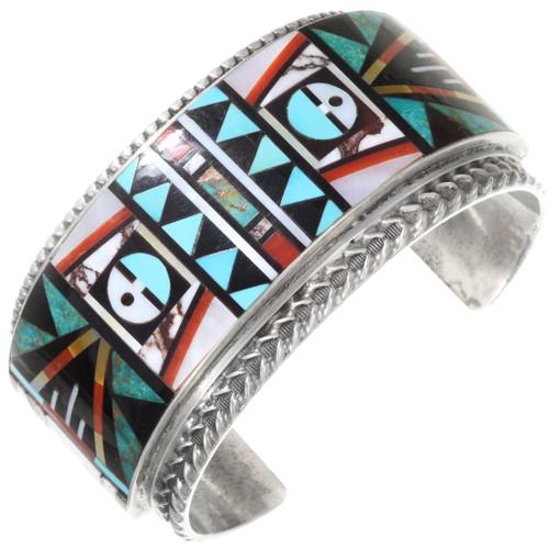 Vintage Zuni Gemstone Inlay Sunface Bracelet 40369