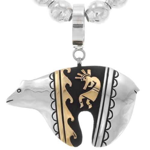 Navajo Silver Gold Bear Pendant on Bead Necklace 40371