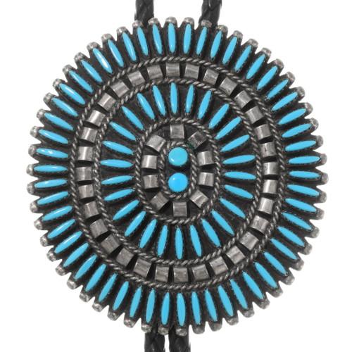 Old Pawn Zuni Needlepoint Turquoise Bolo Tie 40375