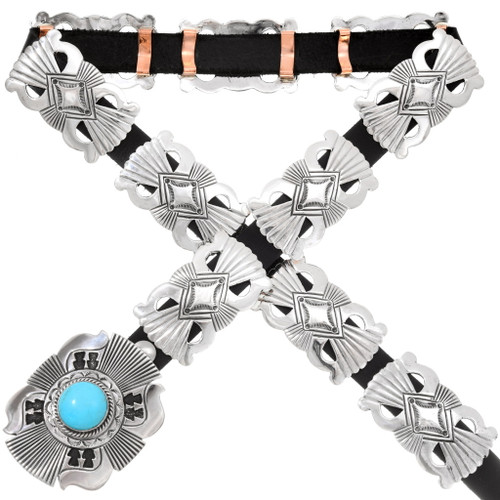 Turquoise Sterling Silver Native American Concho Belt 40392