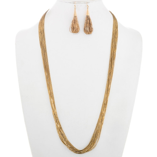 Gold Liquid Silver Necklace Earrings Set 40428