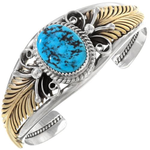 Native American Turquoise Gold Bracelet 17624