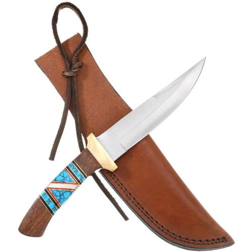 Navajo Turquoise Inlay Skinner Knife 40446