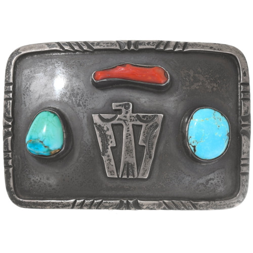 Old Pawn Sterling Silver Turquoise Thunderbird Belt Buckle 40457