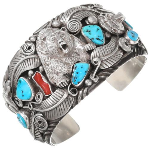 Big Boy Vintage Turquoise Silver Bear Bracelet 40466