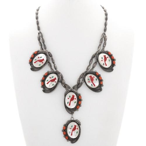 Old Pawn Zuni Inlaid Cardinal Necklace