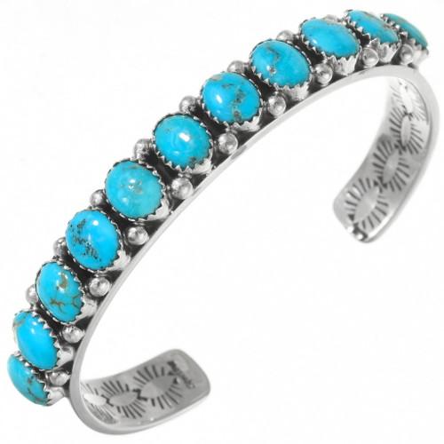 Navajo Sterling Silver Turquoise Bracelet 25654