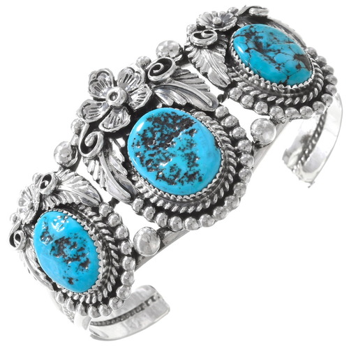 Three Stone Turquoise Silver Bracelet 21063