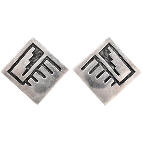 Old Pawn Hopi Sterling Silver Post Earrings 40493