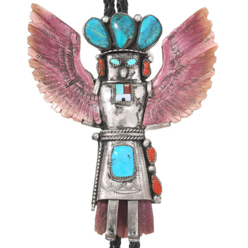 Vintage Turquoise Sterling Silver Kachina Bolo Tie 40416