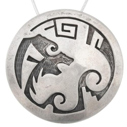 Hopi Sterling Silver Bear Pendant 40505