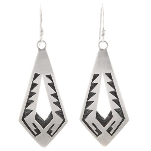 Vintage Sterling Silver Hopi Earrings 40513