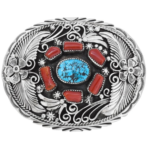 Southwest Turquoise Coral Silver Belt Buckle 40516